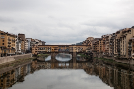 View of the Ponte Vecchio bridge in Florence, Italy
