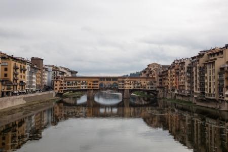 View of the Ponte Vecchio bridge in Florence, Italy
