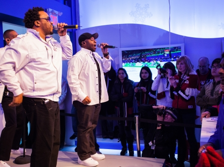 VANCOUVER, BC - FEBRUARY 2010 - Naturally 7 performs at the Bell Ice Cube during Vancouvers 2010 Games