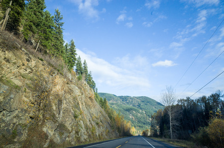 Tarred road through scenic mountains passing a deep rock cutting forested with evergreen conifers as it recedes straight into the distance Stock Photo