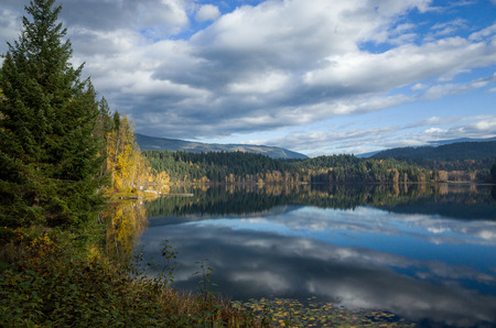 Scenic landscape of a tranquil mountain lake surrounded by pine or fir forests reflecting the cloudy sky on the surface of the calm water