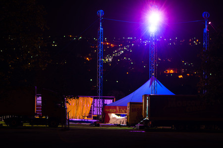 big top: BATH, UK - SEPTEMBER 26 2016 Circus Big Top tent being removed and packed onto lorry. Moscow State Circus deconstructing traveling circus in Bath after five day stay. Editorial