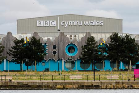 CARDIFF, UK - APRIL 14 2017 BBC Cymru Wales Roath Lock Studios. Television production facility in Roath Basin at the Porth Teigr area of Cardiff Bay Editorial