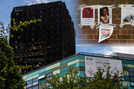 LONDON, UK - JUNE 16 2017 Grenfell tower after fire, with Kensington Aldridge Academy and missing people posters. Scene of tragedy after inferno in high rise building claims scores of lives Editorial