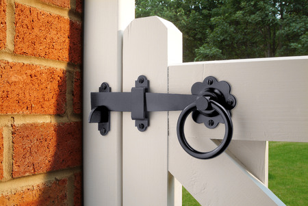 Ring Latch On White Garden Gate Stock Photo, Picture And Royalty Free  Image. Image 27550575.
