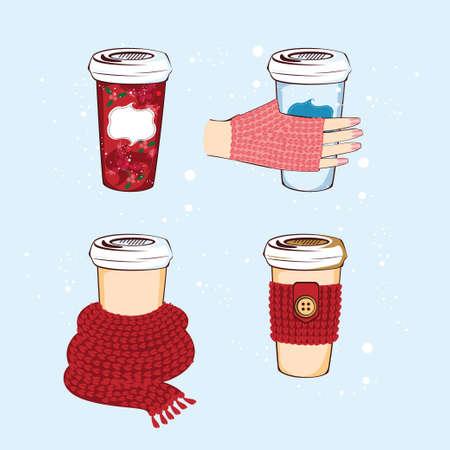 Mignonne tasse à café d'hiver pour votre conception