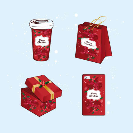 cristmas: Red Cristmas packaging set: coffee cup, shopping bag, gift, case for smartphone