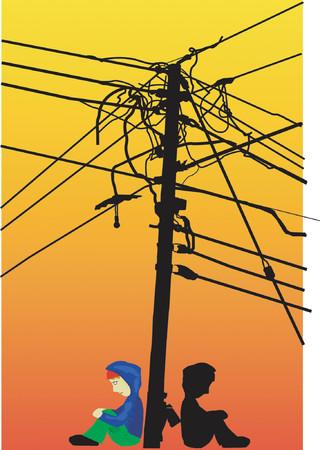 kid sitting under urban telephone poles Stock Vector - 441360