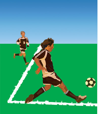 soccer kick vector Illustration
