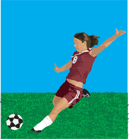 girl soccer kick vector Illustration