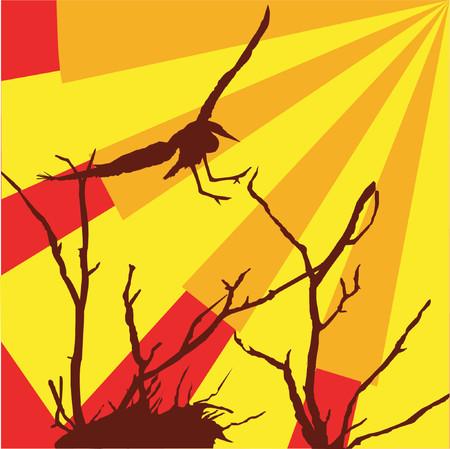 swoop: Blue Heron de vuelo de dibujo vectorial