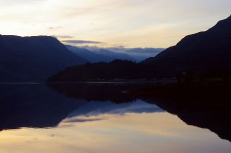 4AM sunrise on Scottish loch Stock Photo - 455150