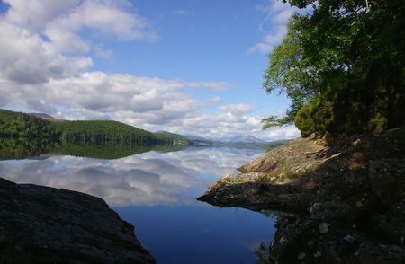 water reflection in scottish loch