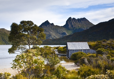 The famous boat shed on Dove Lake, Cradle Mountain, Tasmania, Australia Stock Photo