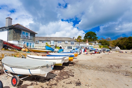 On the riverside beach at Helford Passage Cornwall England UK