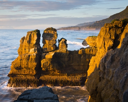 Sea Stack, Punakaiki, West Coast, South Island, New Zealand Stock Photo