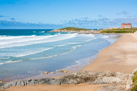 county side: Sunny day on Fistral Beach Newquay Cornwall England UK