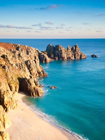 Pedn Vounder Beach from Treen Cliffs with Treryn Dinas head in the distance, Cornwall England UK