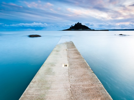 Jetty at Marazion Cornwall with St Michaels Mount in the background.
