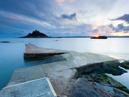 cornwall: Jetty at Marazion Cornwall with St Michaels Mount in the background.