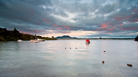 Acacia Bay at dusk, North Island New Zealand