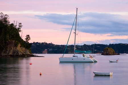 Boats moored at Russell, Bay Of Islands, North Island, New Zealand Stock Photo