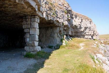sone: Inside Winspit stone quarry on the Dorset coastline England Stock Photo