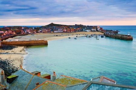 Roof top view of the harbour at St. Ives Cornwall UK Stock Photo