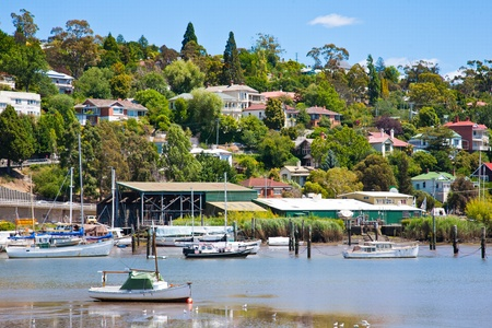 Boats on the River Tamar Launceston, Tasmania Australia, from Kings Park