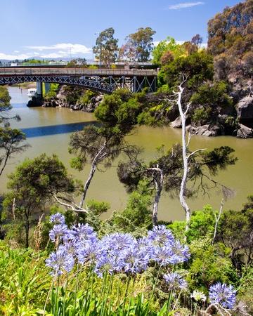 cataract: Kings bridge from Cataract Gorge, Launceston Tasmania Australia