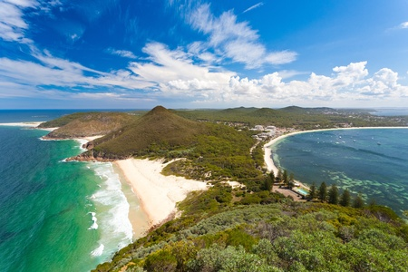 View from Tomaree Head Lookout, New South Wales Australia Stock Photo