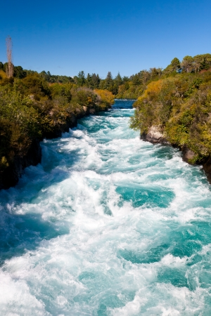 Powerful Huka Falls on the Waikato River near Taupo Stock Photo