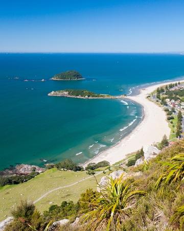 newzealand: Omanu Beach viewed from the top of Mount Maunganui, Bay of Plenty, North  Island New Zealand