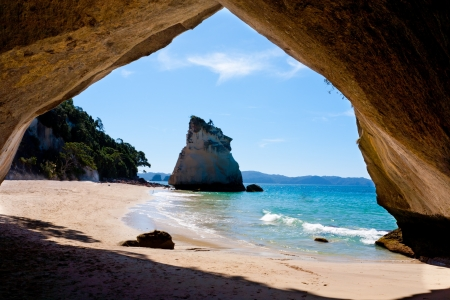 Inside Cathedral Cove North Island New Zeland