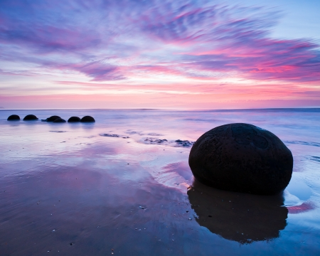 Moeraki Boulders at Dawn South Island New Zealand Stock Photo
