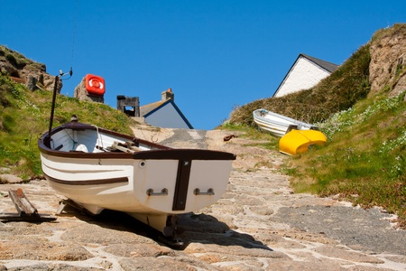 slipway: Boat on the slipway at Porthgwarra Cornwall England UK Stock Photo