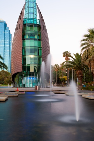 Fountains in the pool infront of the Swan Bell Tower, Perth Western Australia