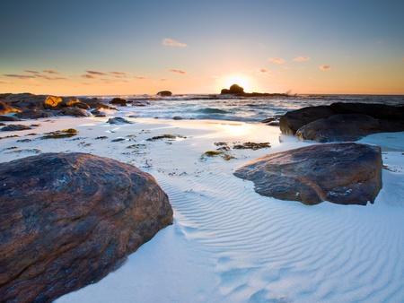 strand australie: Zonsondergang bij Redgate Beach in de buurt van Margaret River West-Australië