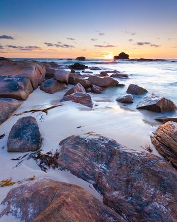 マーガレット ・ リバー西オーストラリア近くレッドゲート ビーチの夕日