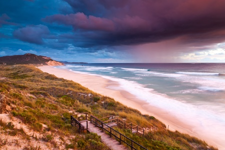 Sunset on Mandalay Beach near Walpole Western Australia Stock Photo