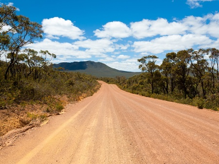 dirt road: Red dirt road through Stirling Range National Park, Western Australia Stock Photo