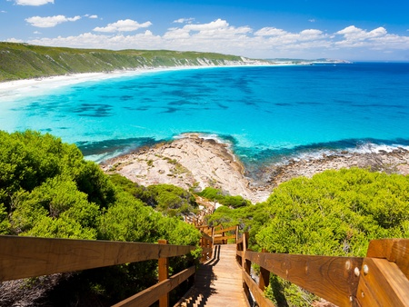 western australia: Wooden path at Observatory Point Great Ocean Drive Western Australia