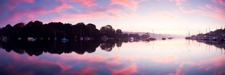 Stunning panorama of a peaceful River at Sunrise. Penryn Cornwall England UK Stock Photo - 13212191