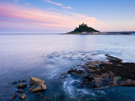 Sunset photo of Marazion with St Michaels Mount in the Distance, Cornwall, England UK photo