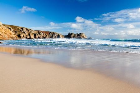 porthcurno: Beach at Porthcurno Cornwall England UK 2011 Stock Photo