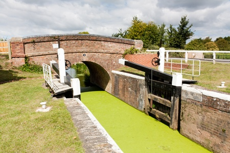canal lock: Higher Maunsel Lock on the Bridgwater and Taunton Canal Somerset England UK