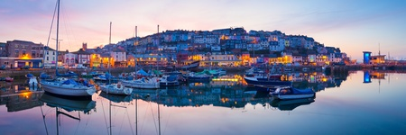 Panorama of Brixham Harbour at Sunset  Devon England UK photo