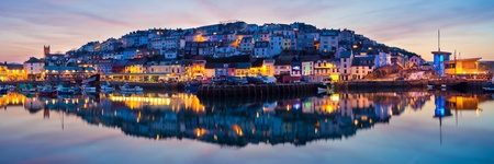 Panorama of Brixham Harbour at Sunset  Devon England UK