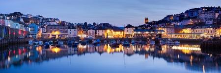 Panorama of Brixham Harbour at Sunset  Devon England UK