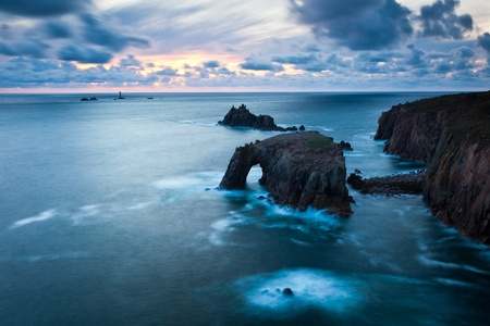 Stormy sunset at Lands End Cornwall England UK